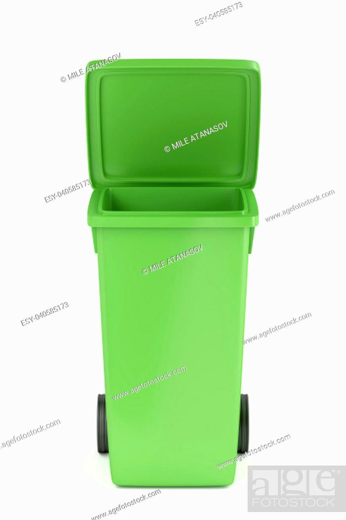 Stock Photo: Green recycle bin on white background.