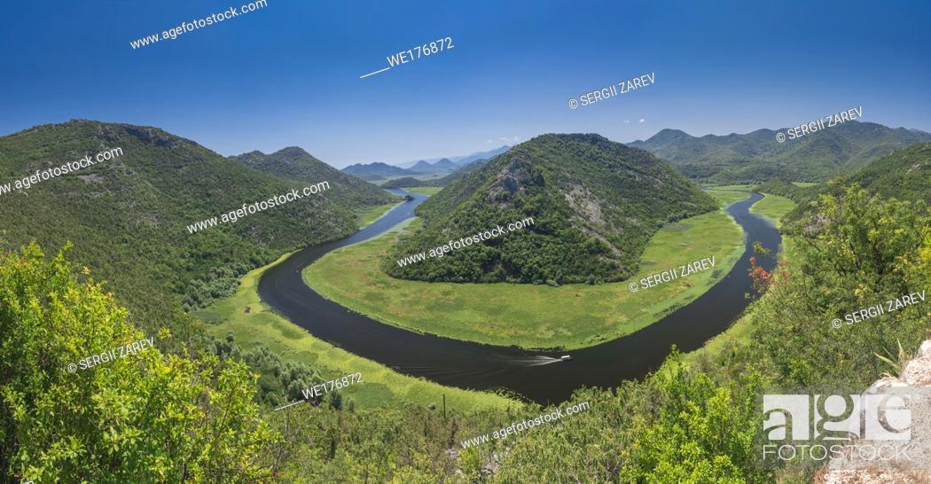 Stock Photo: Panoramic view from above of the huge bend of Tsrnoyevicha river and the forest around, Rijeka Crnojevica in Montenegro.