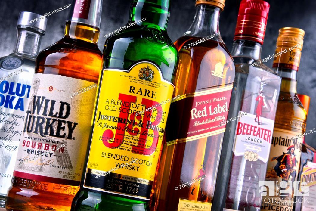 Stock Photo: Bottles of assorted global hard liquor brands.