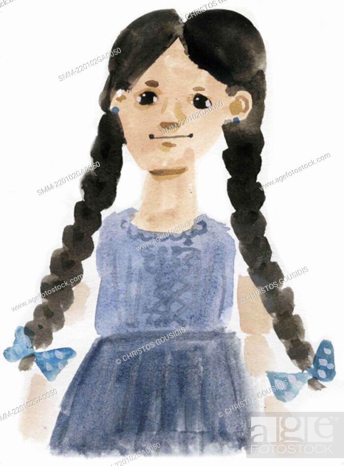 Stock Photo: Little girl with long braids in dress.