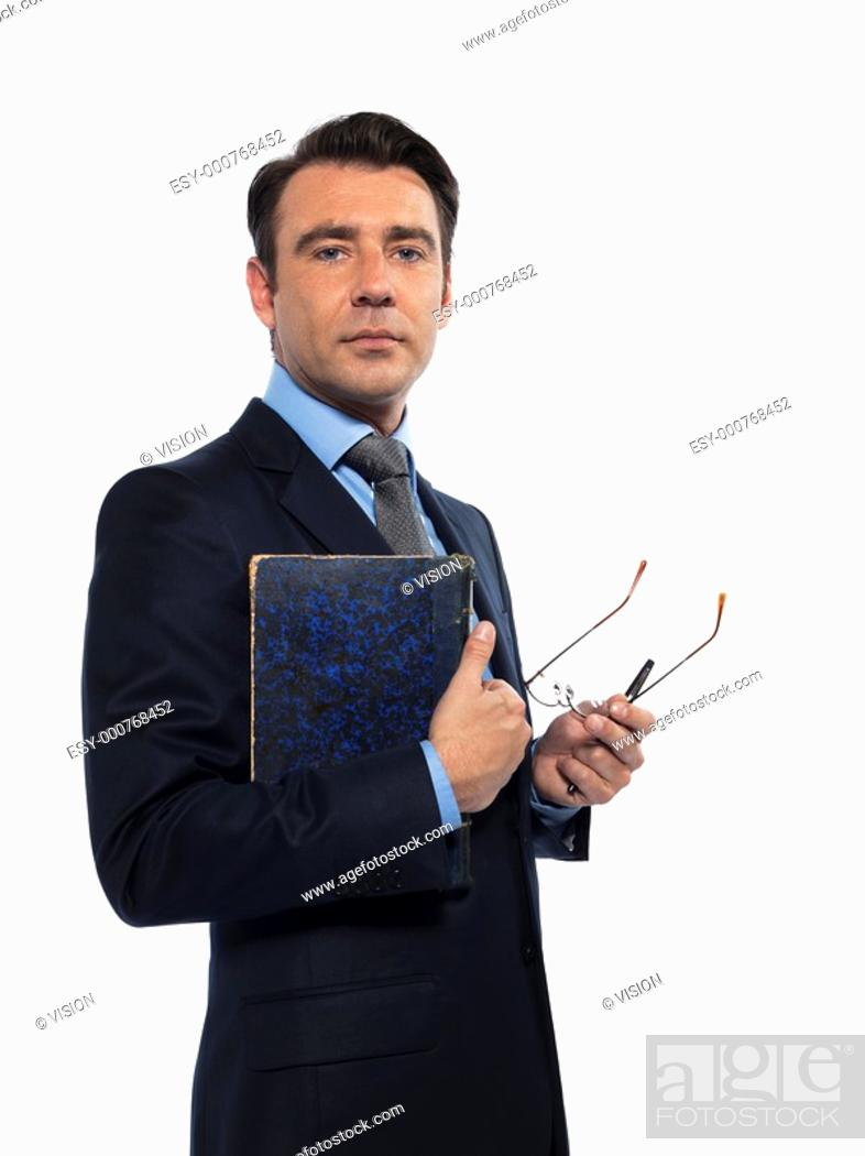 Stock Photo: man caucasian teacher professor holding book isolated studio on white background.
