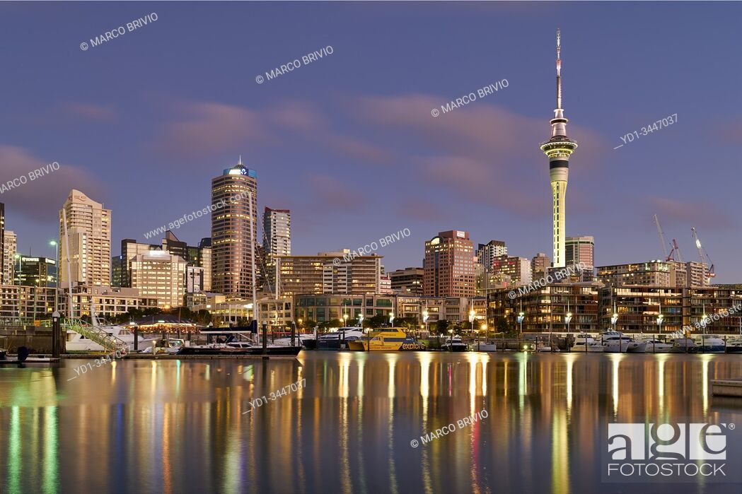 Stock Photo: Auckland New Zealand. The skyline from Viaduct Harbour at sunset.