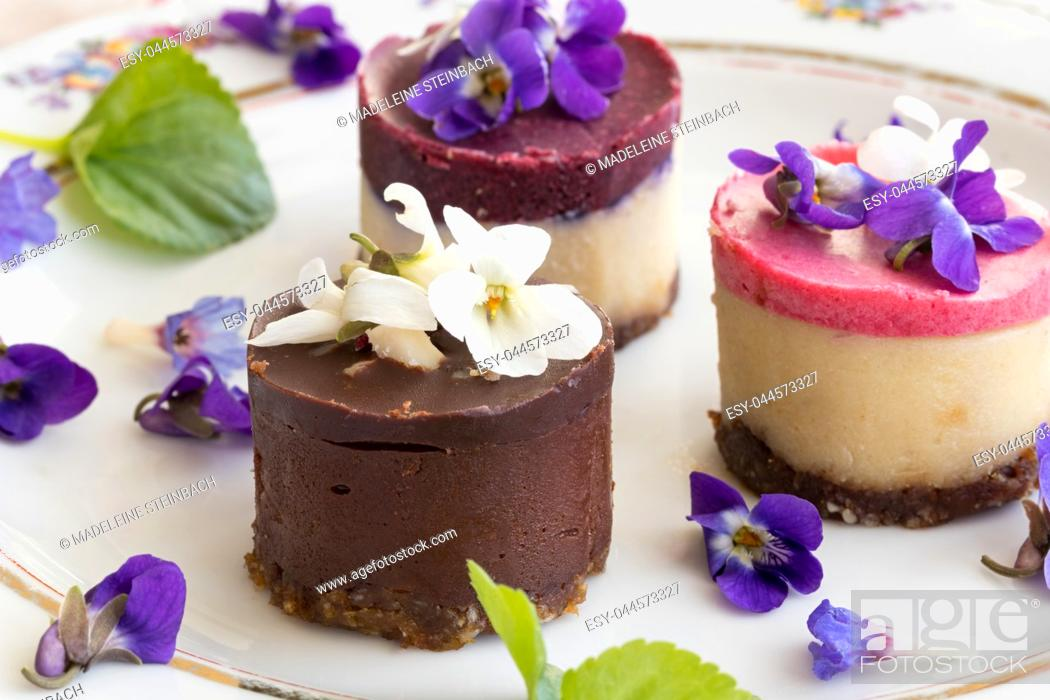 Stock Photo: Raw vegan desserts on a plate with fresh violet and lungwort flowers.