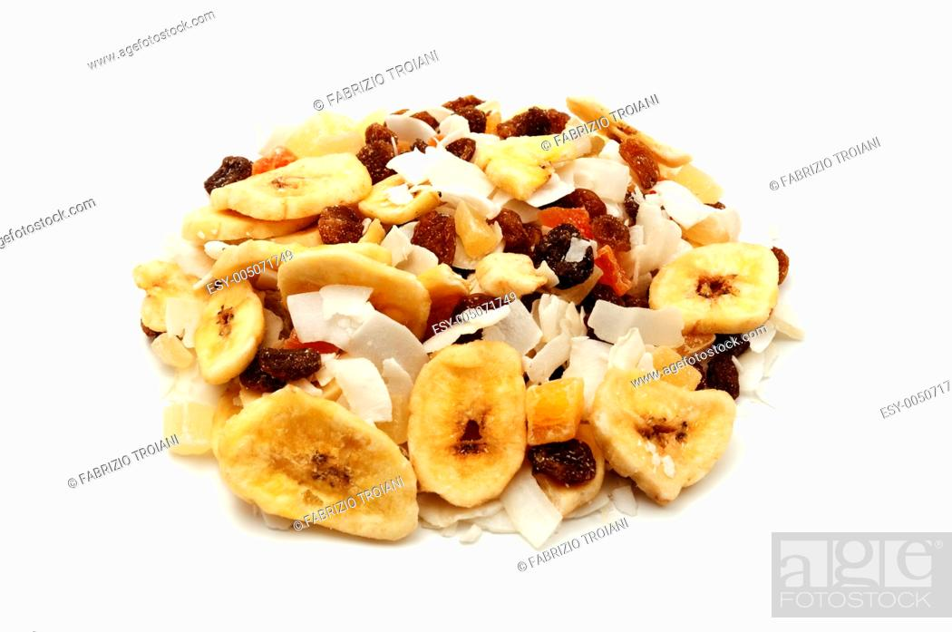 Stock Photo: Mixed dried fruits on a white background.