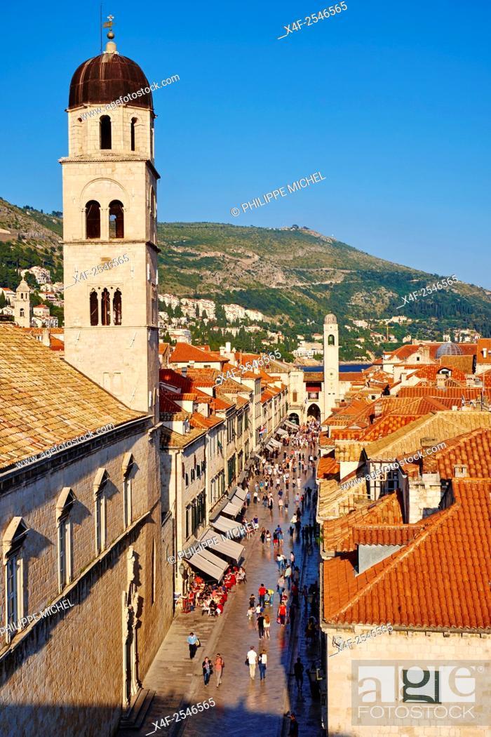 Stock Photo: Croatia, Dalmatia, Dubrovnik, historical centre, Unesco World Heritage site, old town, main street Placa Stradum.