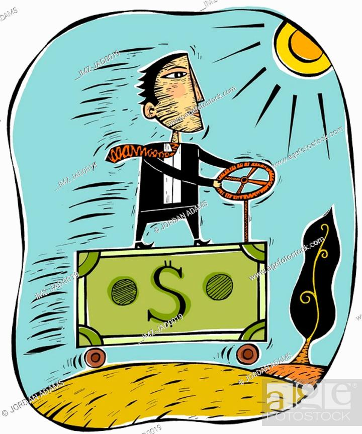 Stock Photo: An illustration of a businessman driving a money truck.
