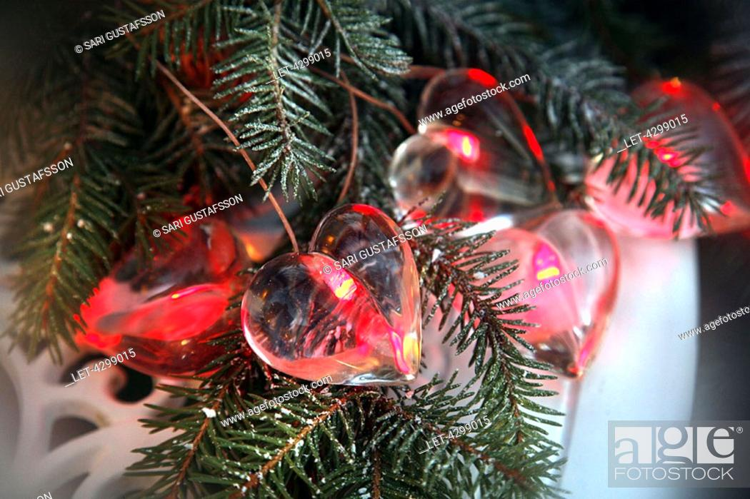 Finland Christmas Decorations.Heart Shaped Christmas Decorations Finland Stock Photo