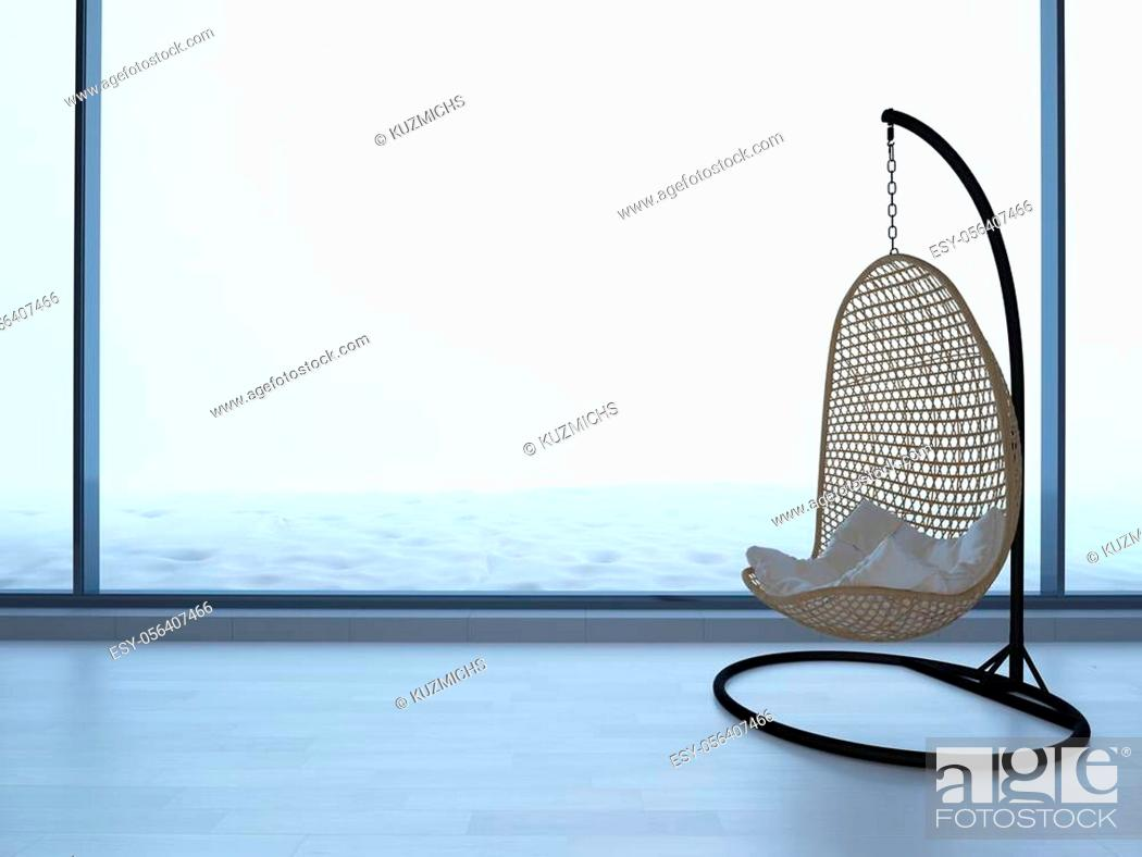 Stock Photo: wicker chair standing in an empty room on light parquet floor. Natural light from the window, 3d illustration.