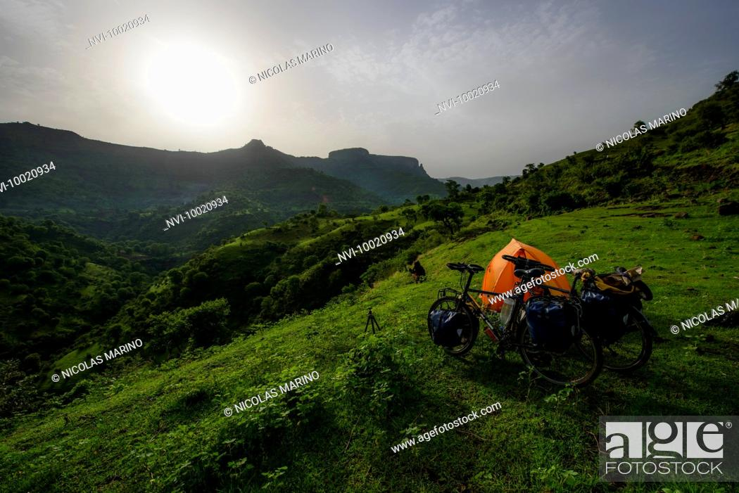 Stock Photo: Camping in the highlands of northern Ethiopia.