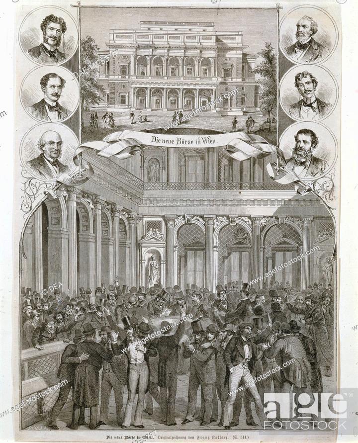 Stock Photo: Austria, 19th century. The new hall of the Vienna Stock Exchange. Engraving.  Vienna, Historisches Museum Der Stadt Wien (History Museum).