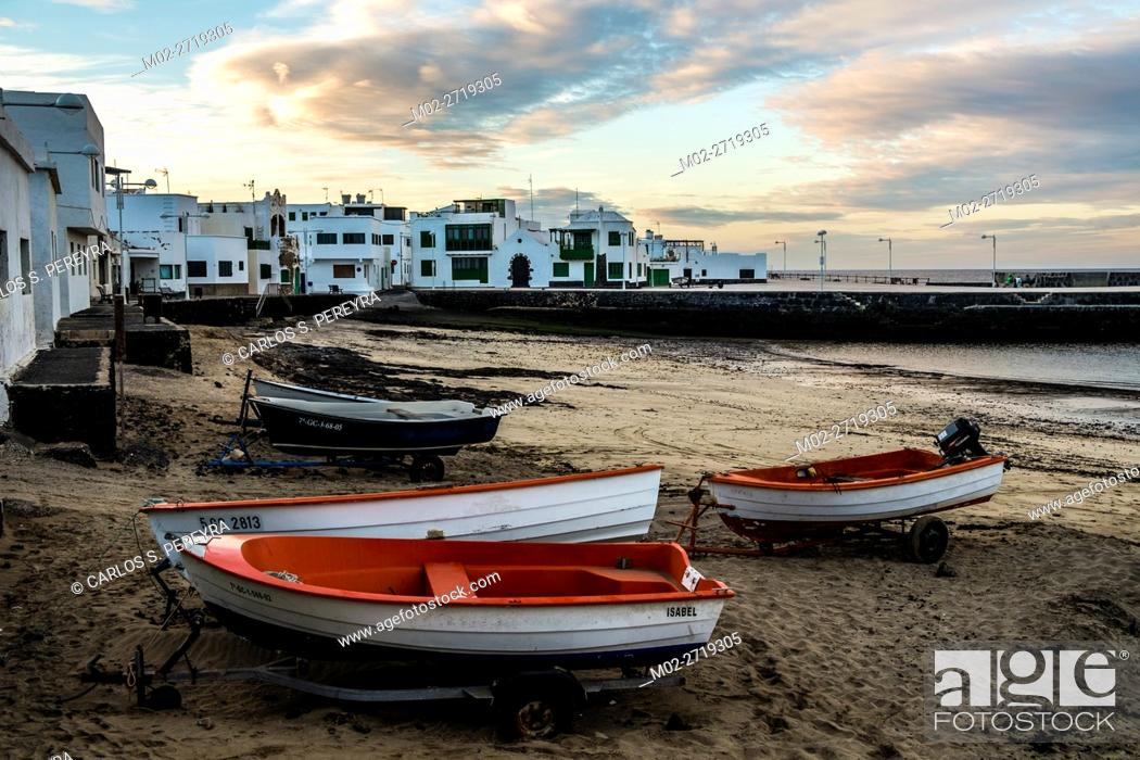 Stock Photo: Beach of Caleta de Famara in Lanzarote Canary Islands Spain.