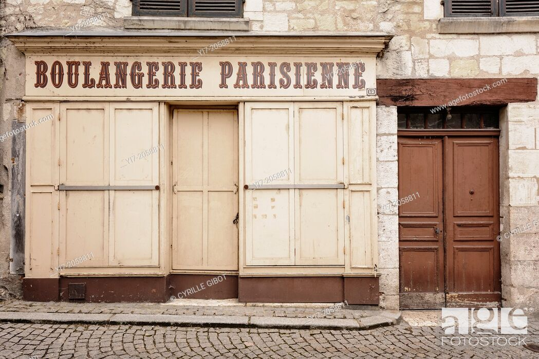 Stock Photo: Closed bakery, Saint-Aignan, Loir-et-Cher, Centre, France.