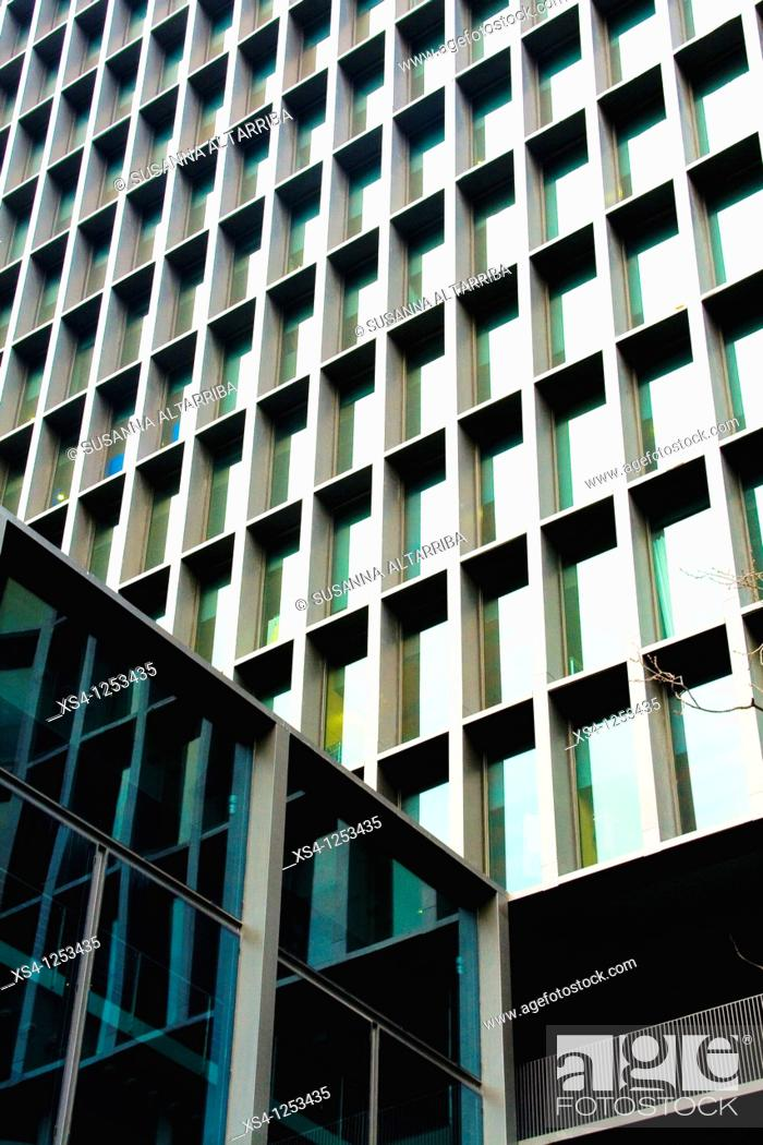 Stock Photo: Imagina building, of 2008, in Diagonal Avd., 177, in the 22@ district, Barcelona, Spain, Europe. Of the architects Carles Ferrater and Patrick Genard.