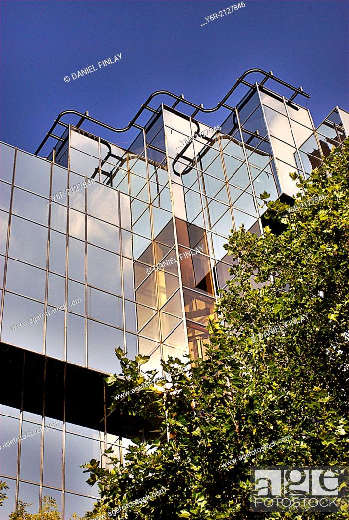 Stock Photo: Modern office building on the Marylebone Road in central London, England, on a sunny day.