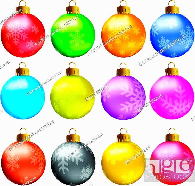 Stock Vector: Set of vectors - Christmas balls in vivid colors with snowflakes model.
