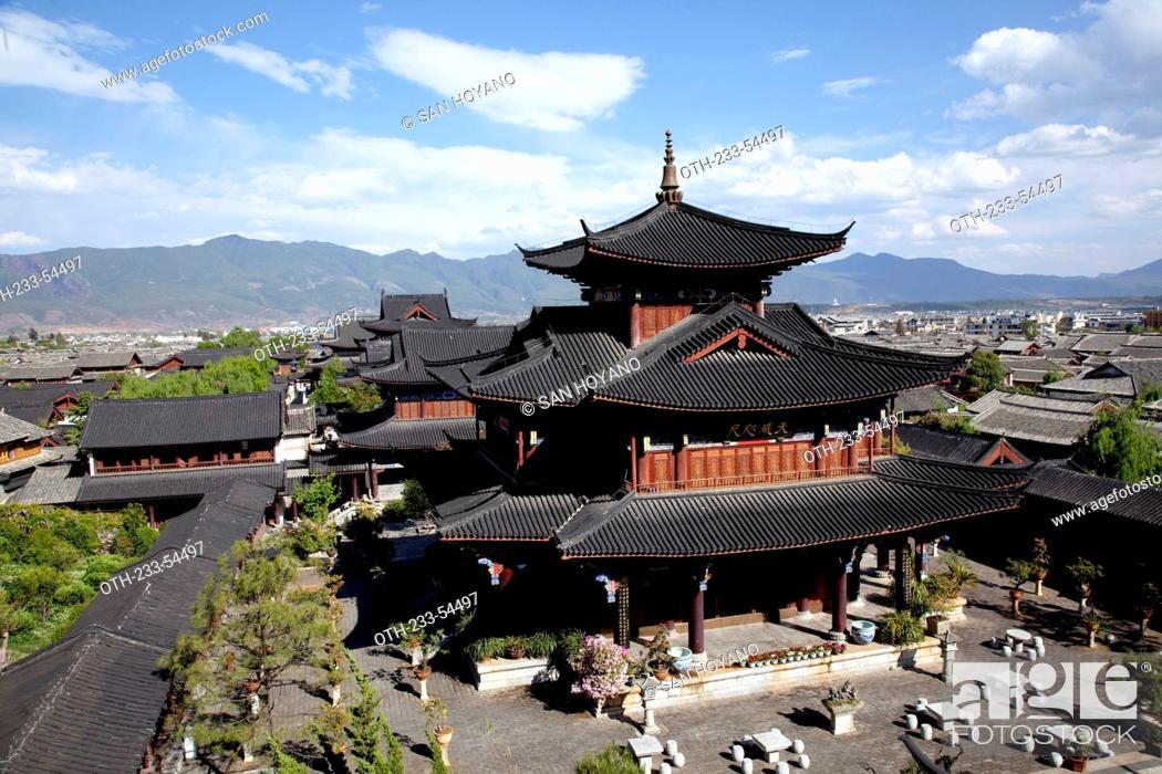 Stock Photo Sanqing Hall Of Mu Family Mansion Wu Juan Pavilion Lijiang