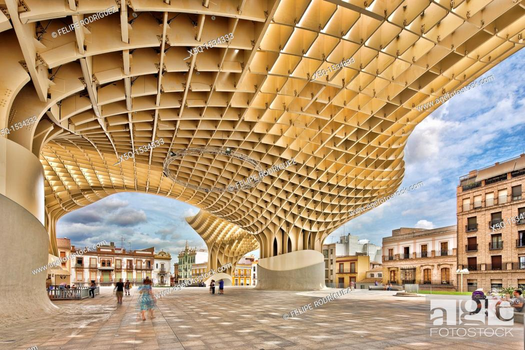 Stock Photo: Metropol Parasol building, Seville, Spain.