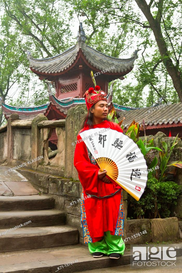 Stock Photo: A dynasty warrior in ethnic dress welcomes guests to the city of Ghosts in Fengdu, China, Asia.