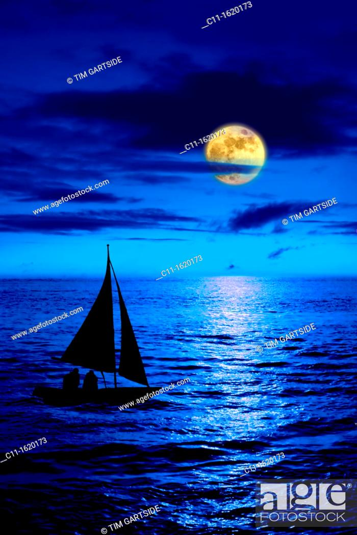 Stock Photo: full moon over blue sea at night with sail boat.