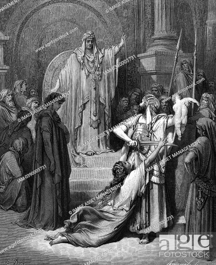 c7119ceaf748 Stock Photo - Judgement of Solomon I Kings 3 25 From Gustave Dore s  illustrated  Bible