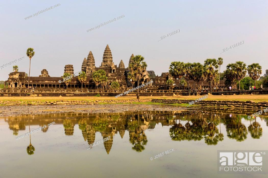 Stock Photo: Angkor Wat Temple reflected in northern pond, Siem Reap Province, Cambodia.