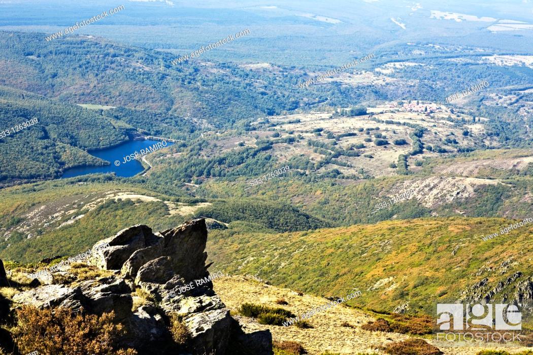 Stock Photo: The Riofrio reservoir in the Sierra Norte Segovia Castilla León Spain.