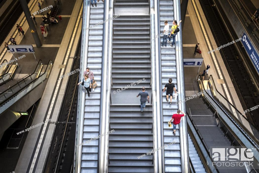 Stock Photo: The escalator inside the Berlin Hauptbahnhof station, Berlin, Germany, Europe.