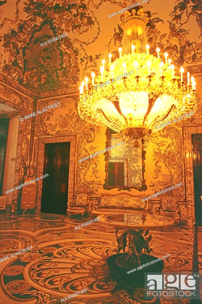 Stock Photo: Spain - Madrid - Palacio Real - The Charles III sumptuous apartments.