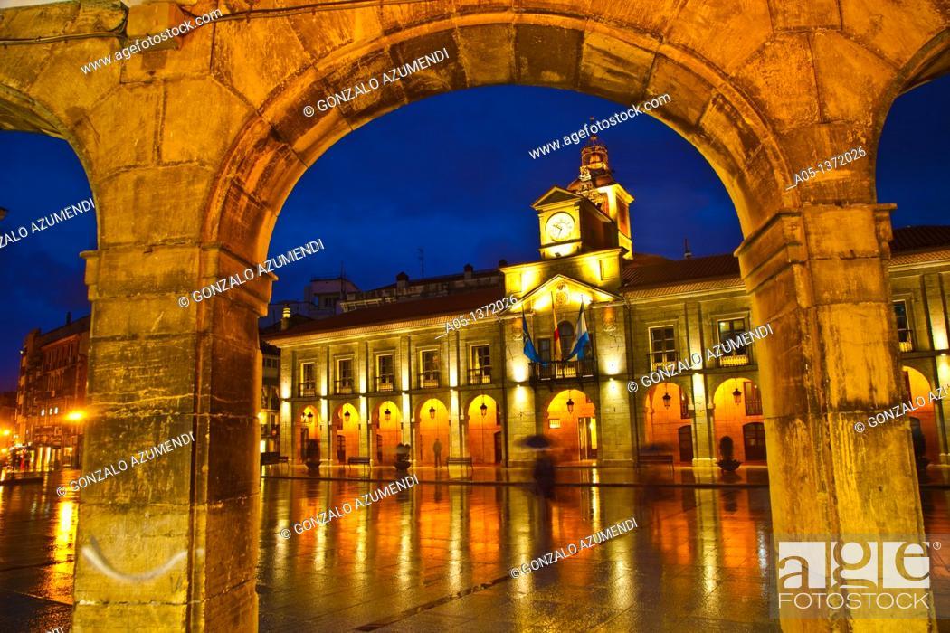 Stock Photo: City hall in Plaza de España Spain Square  Aviles  Asturias  Spain.