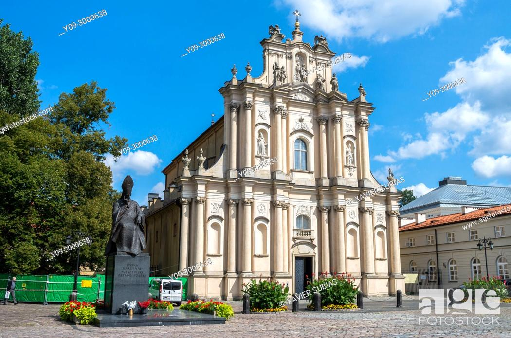 Stock Photo: Church of the Care of St. Joseph and Monument, Cardinal Stefan Wyszynski, Warsaw, Poland.