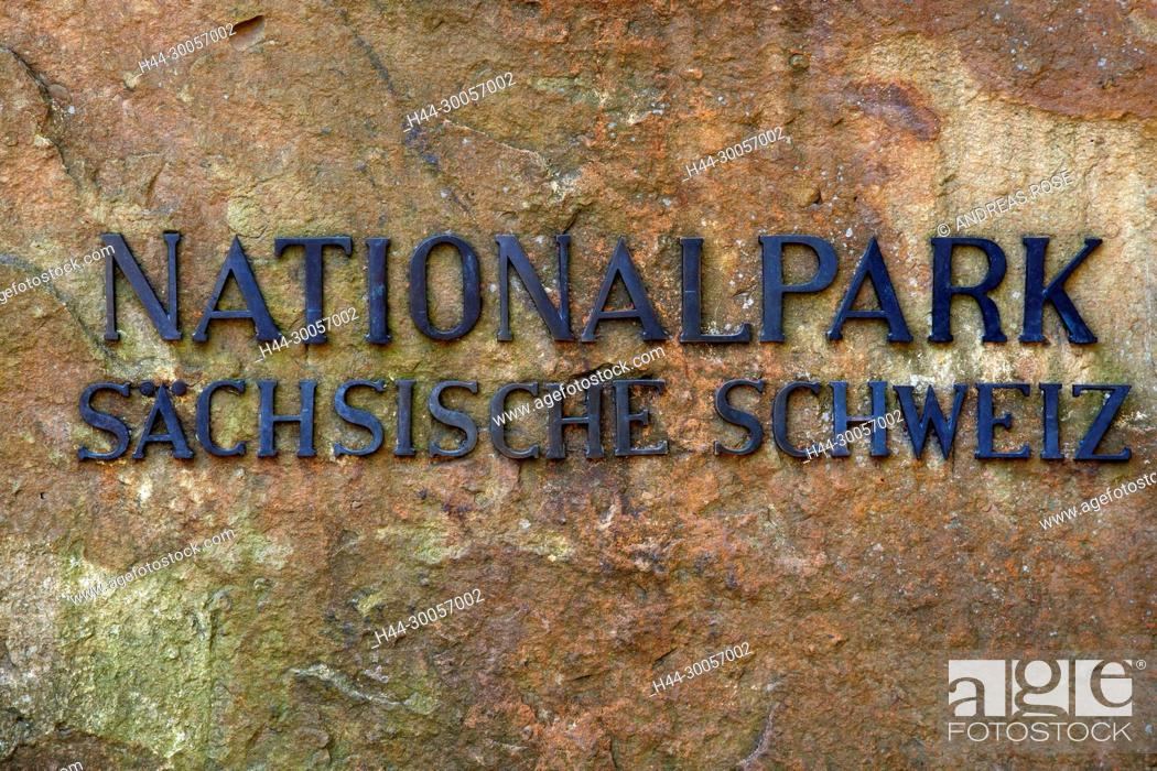 Imagen: Stone on the rise to the bastion with lettering Saxon Switzerland National Park, Saxony, Germany, Europe.