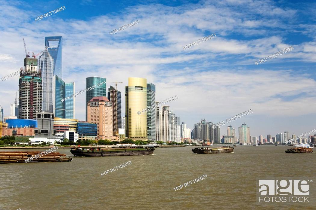 Stock Photo: Skyscrapers in a city, Lujiazui, The Bund, Shanghai, China.