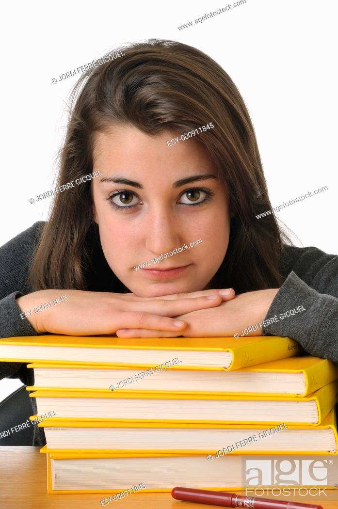Stock Photo: Bored adolescent girl student resting.