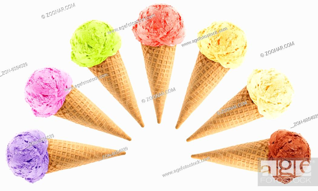 Stock Photo: Set of colorful Ice cream with cone on white background with clipping path.