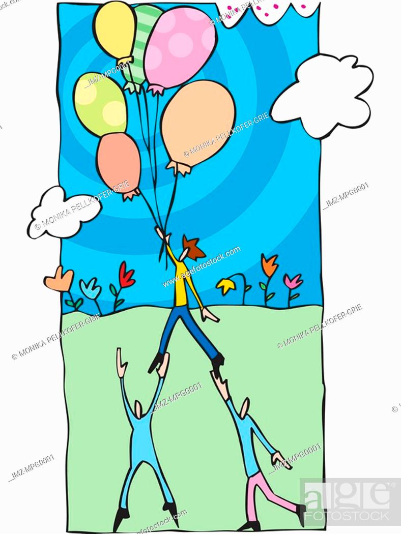 Stock Photo: Two people helping a person to fly using balloons.