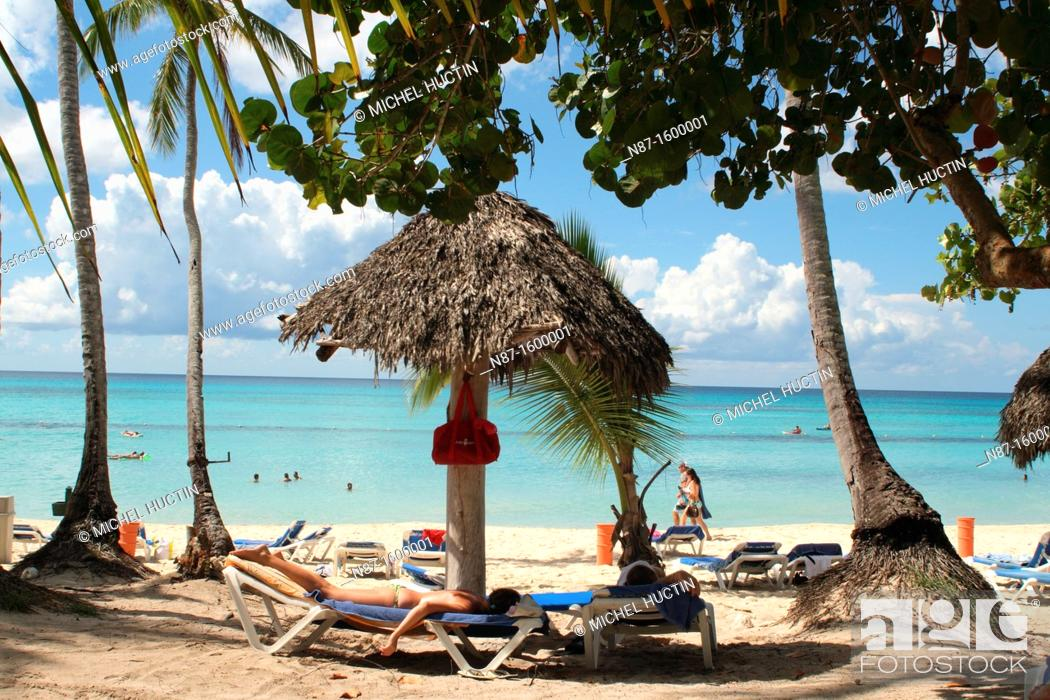 Stock Photo: Dominican Republic, Bayahibe, relaxing at the beach.
