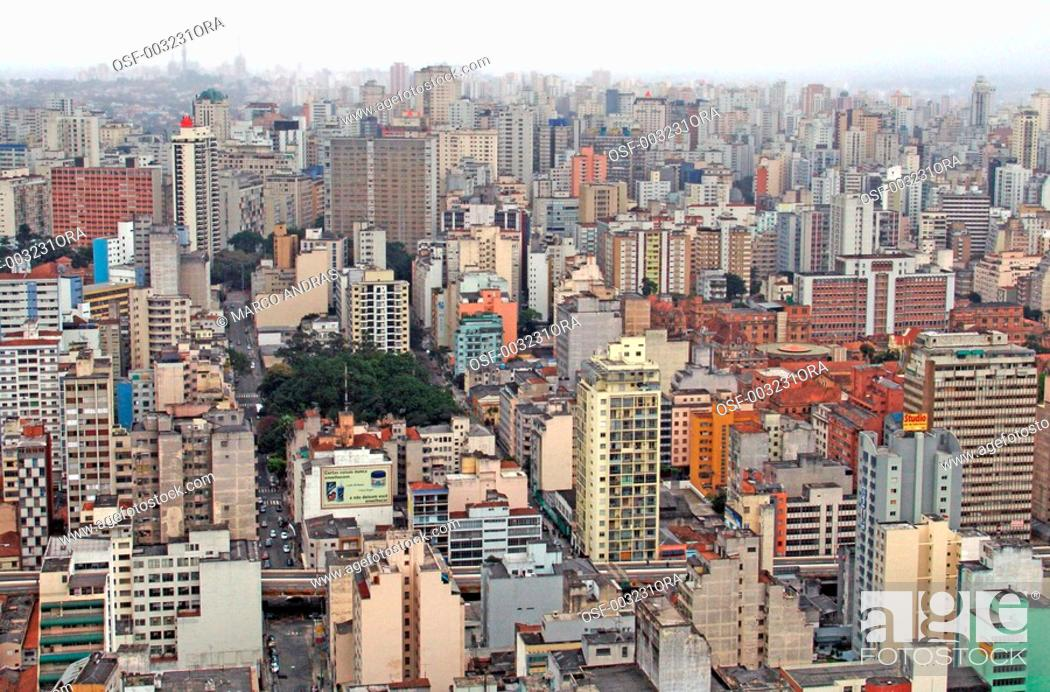 Stock Photo: sao paulo sp modern buildings structure viewed from th air.
