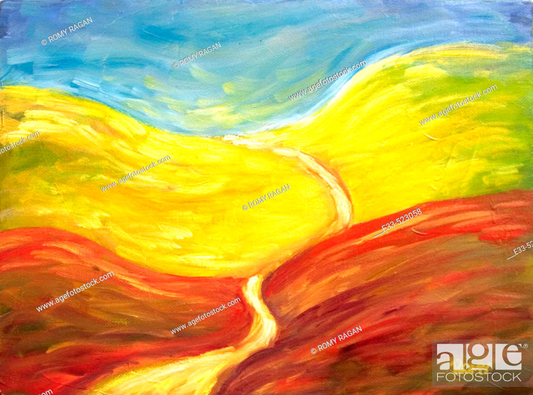 Stock Photo: 'Road Ahead' Oil on canvas. 2003. Private collection.