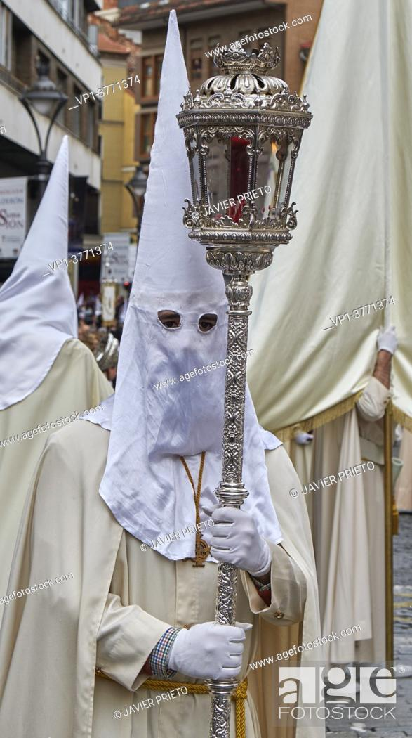Stock Photo: Penitential and Sacramental Brotherhood of the Holy Supper The General Procession of the Holy Passion of the Redeemer. It is a procession in which all the.