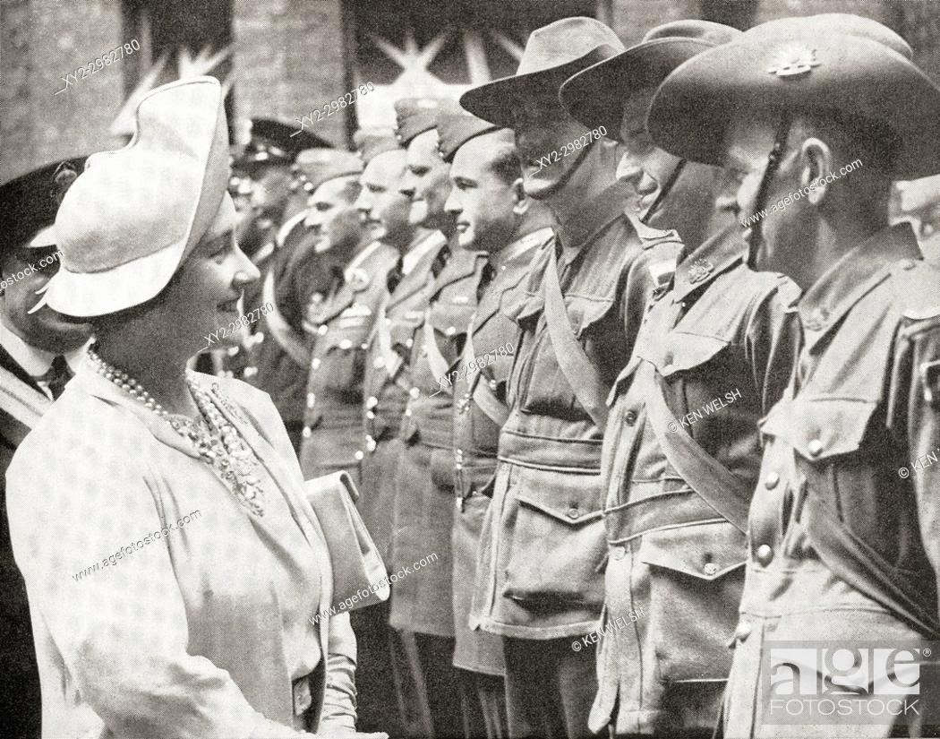 Stock Photo: Queen Elizabeth greeting Australian troops in Britain in 1940, during World War Two. Queen Elizabeth, The Queen Mother. Elizabeth Angela Marguerite Bowes-Lyon.