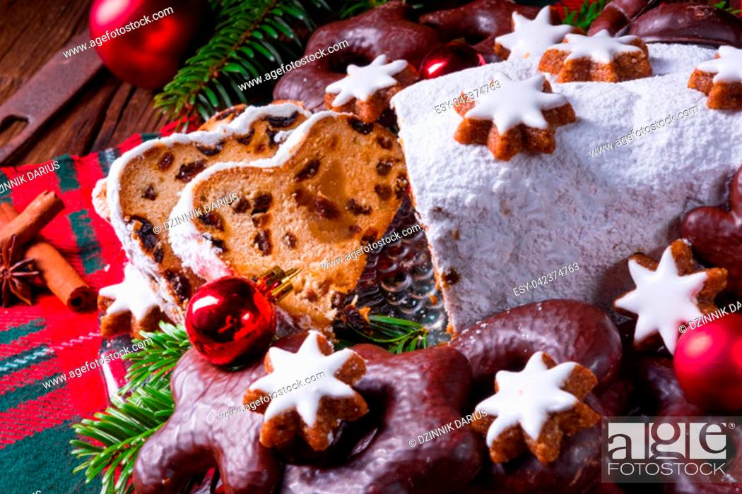 Stock Photo: delicious dresdner christ stollen with marzipan and raisins.
