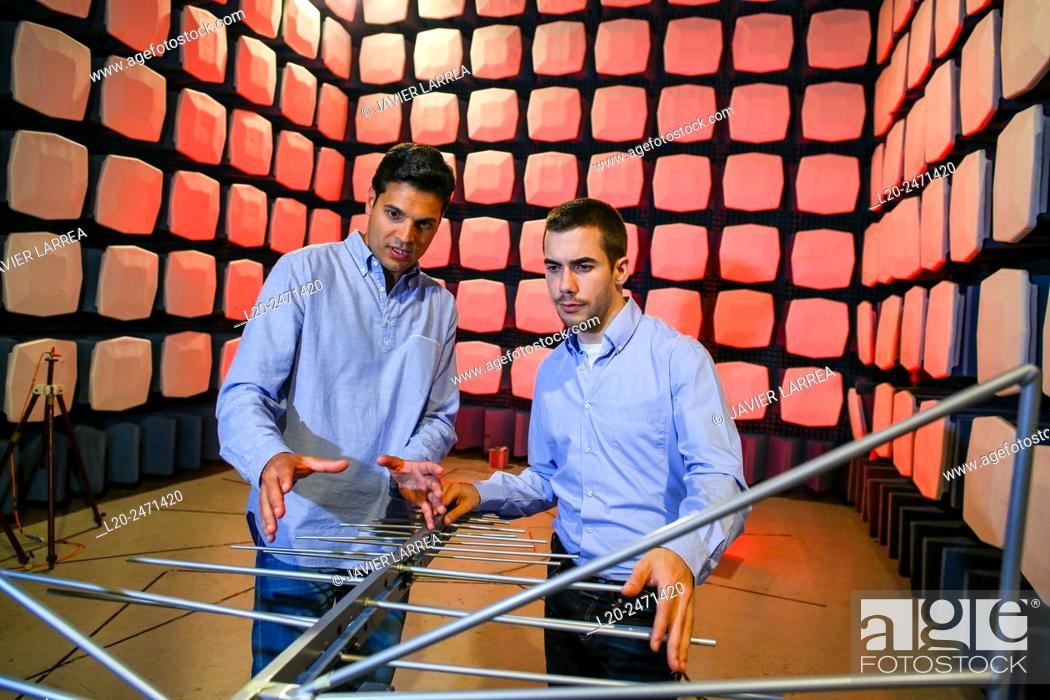 Stock Photo: Researchers. Anechoic chamber. EMC & Telecom Lab. Certification of Low Voltage Electrical & Electronic Products. Technological Services to Industry.