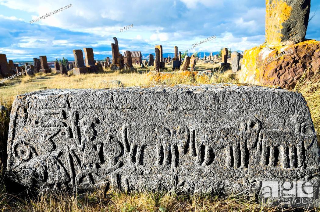 Stock Photo: Medieval Khachkars, carved memorial stele, Farmers Stone, Noratus Cemetery, Lake Sevan, Gegharkunik Province, Armenia, Caucasus, Asia.