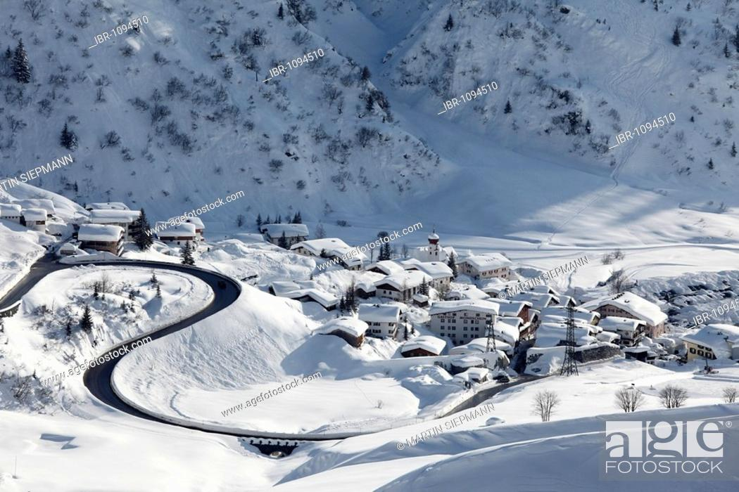Stock Photo: Village, Stuben am Arlberg, Vorarlberg, Austria, Europe.