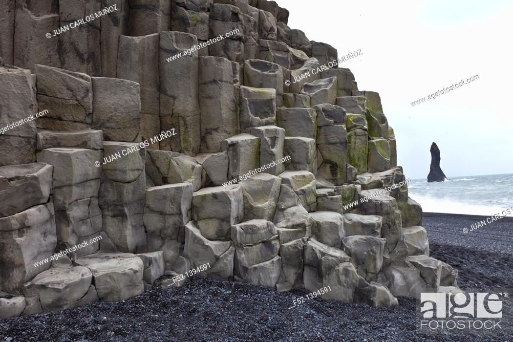 Stock Photo: Columnar basalt, Reynisdrangar, Vik, Southern Iceland, Iceland, Europe.