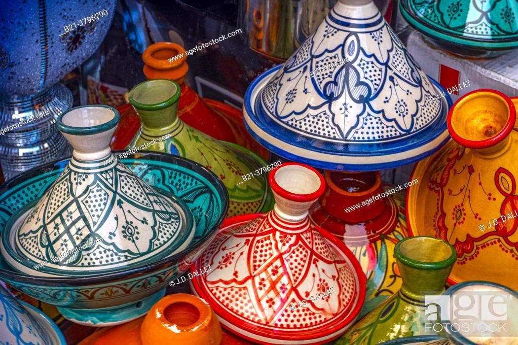 Stock Photo: Morocco, Handicraft, ceramic plates. Tagine plates.