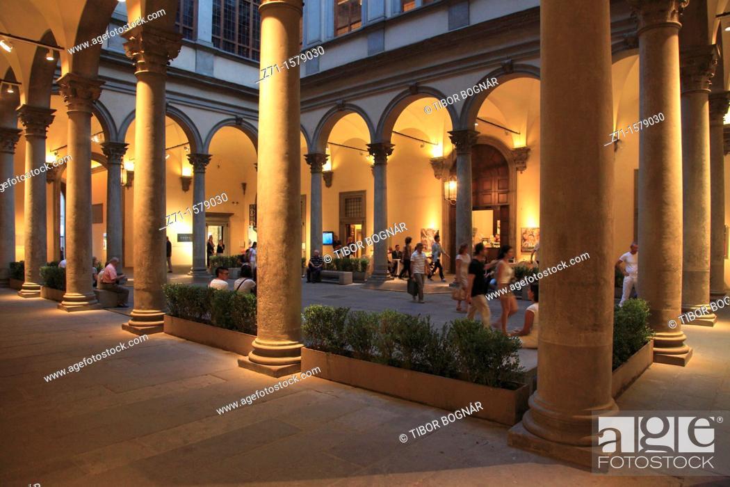 Stock Photo: Italy, Tuscany, Florence, Palazzo Strozzi, palace, interior,.