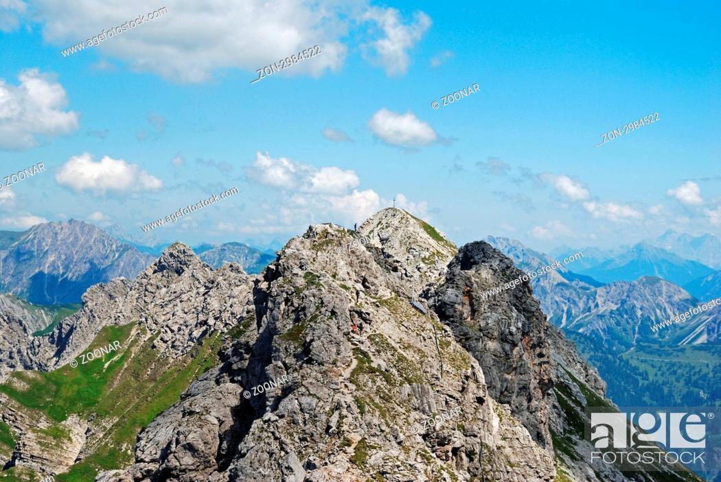 Stock Photo: Hindelanger Klettersteig vom Nebelhorn 2224m, zum Großen Daumen 2280m, Allgäuer Alpen, Allgäu, Bayern, Deutschland, Europa.