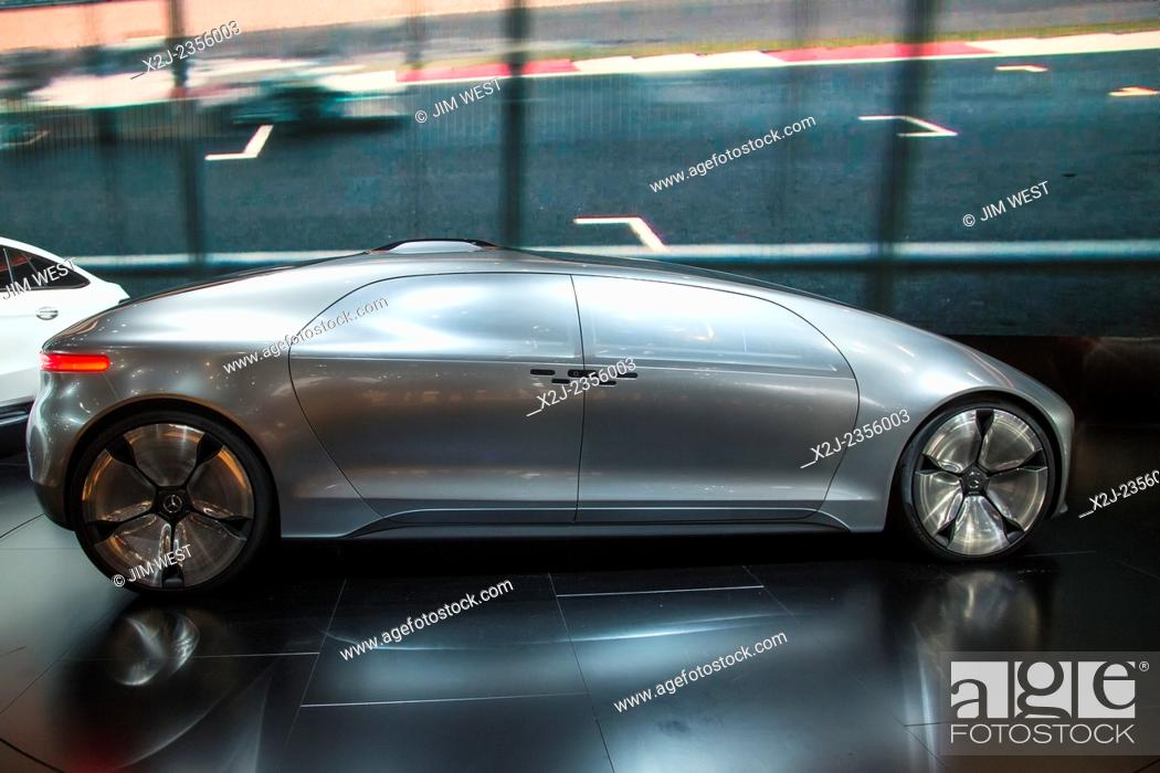 Stock Photo: Detroit, Michigan - The Mercedes-Benz F015 concept car on display at the North American International Auto Show. The seats are arranged so that passengers can.