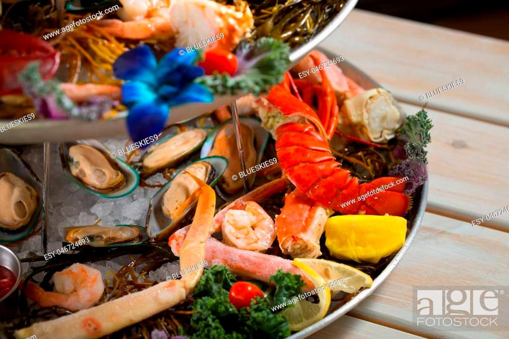 Stock Photo: Close up shot of asssorted seafood on a platter with lobster.
